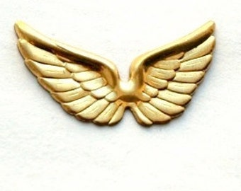 6 pcs Raw Brass Wings charms Stamping
