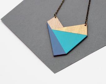 Geometric heart shape wooden nekclace - mint, blue, gold, natural wood - minimalist, modern jewelry - gif for her - modern heart jewelry