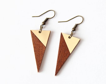 Mahagony and golden triangle intarsia dangle earrings - minimalist, modern handmade gift