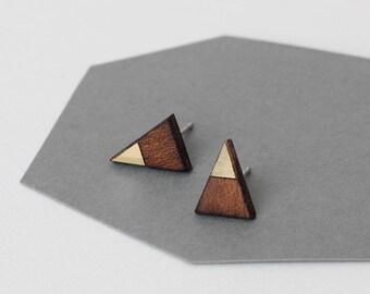 Solid, elegant geometric triangle earrings - mahogany wood & gold color brass