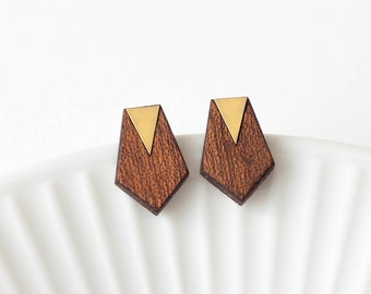 Minimalist, elegant geomatric earrings - mahogany wood, gold color brass - gift for her