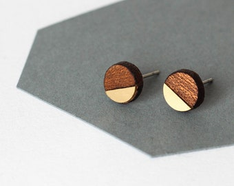 Geometric minimalist tiny studs - mahogany wood, gold color brass - gift for her