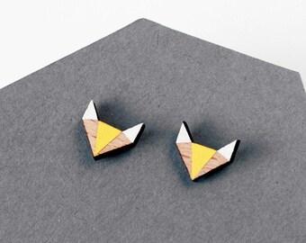 Fox geometric wooden earstuds - modern fox shape earrings - minimalist, modern jewelry - christmas gift for her