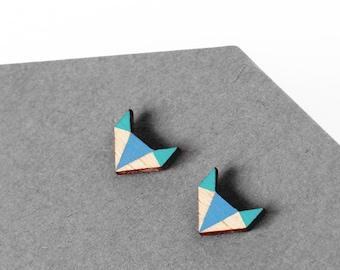 Fox wooden geometric earrings  - modern earstuds - minimalist jewelry - gift for her