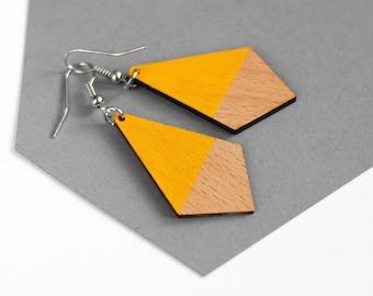 Yellow and natural wood dangle earrings - organic jewelry - handpainted, minimalist, geometric wooden earrings