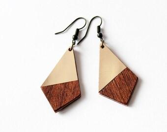 Mahogany and golden brass intarsia dangle earrings - geometric, minimalist, modern, elegant gift for her