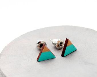 Triangle geomeric stud earrings - mint, gold - minimalist, modern hand painted wooden jewelry