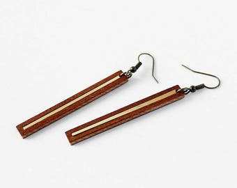 Modern, minimalist marquetry rectangle earrings, mahagony wood and gold color brass - golden line