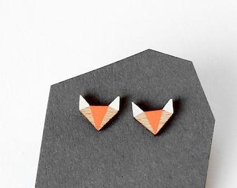 Geometric fox wooden earrings  - modern fox shape earstuds - minimalist, modern jewelry - gift for her