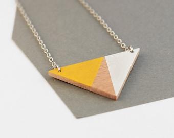 Wooden triangle geometric necklace - sunny yellow, white, natural wood - minimalist, modern jewelry