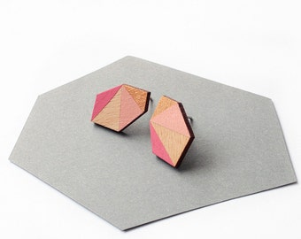 Geometric faceted diamond geo shape stud earrings - gold, rose, pink, natural wood - minimalist, modern hand painted wooden jewelry