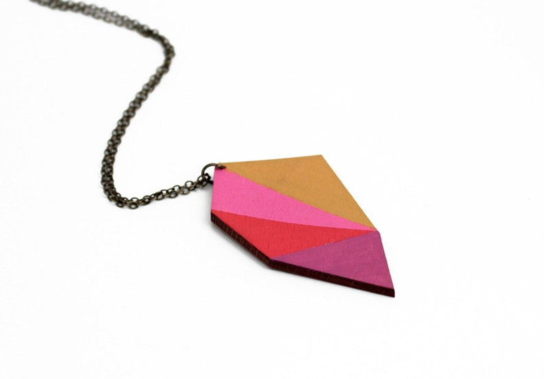Geometric polygon wooden necklace  mustard pink red purple image 0