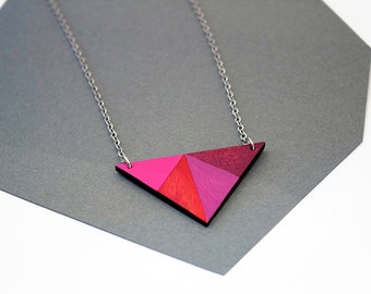 Geometric, wooden triangle necklace - pink, red, purple, merlot - minimalist, modern jewelry