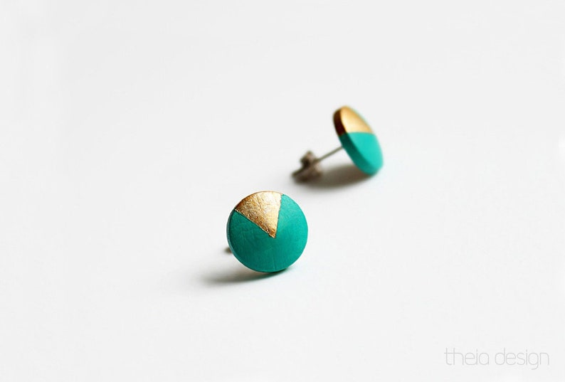 Emerald green wooden studs with triangle motif little gift image 0