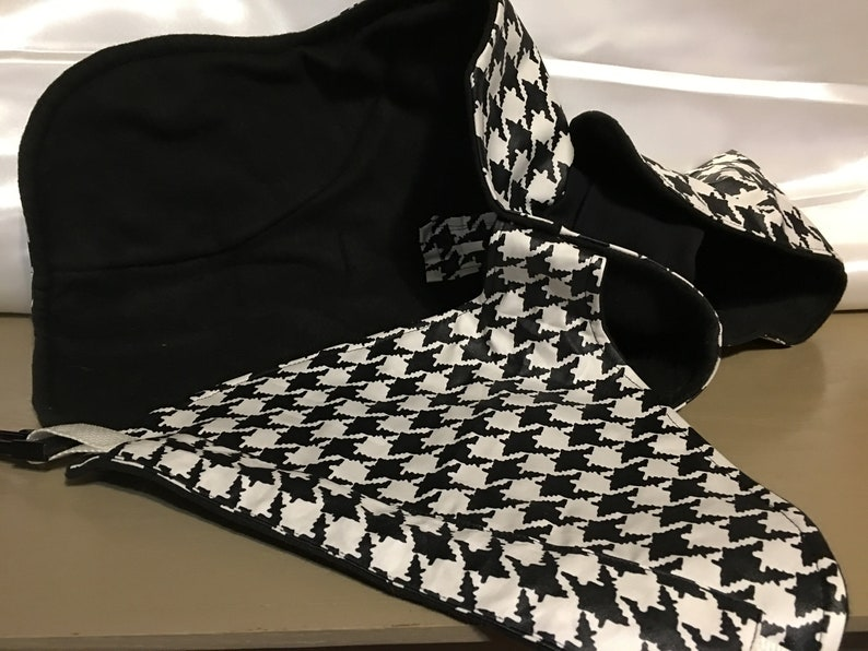 00126-15 Italian Greyhounds Chinese Crested Poodles etc Styled for Small Breeds Black /& White Houndstooth Rain Coat w Fleece Size 15