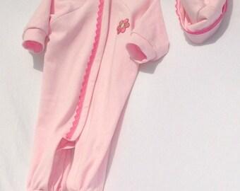 Newborn Baby Girl Pink Sleeper and Cap