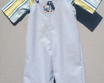 Toddler 1 Cotton Truck Overalls and Shirt