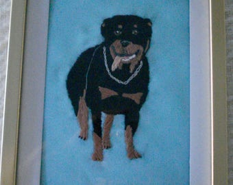 Rottweiler Dog Portrait, Hand Embroidered