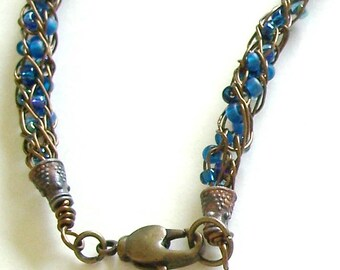 Orange and Blue Murano Glass Pendant with a Beaded Antique Bronze Viking Knit Rope Necklace by Carol Wilson of Je t'adorn