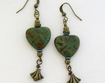Translucent Green Czech Heart Beads Boho Style Dangle Earrings by Carol Wilson of Je t'adorn