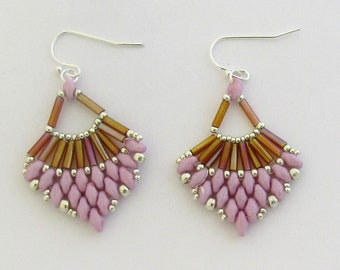 Light Orchid and Bronze Beaded Earrings by Carol Wilson of Je t'adorn