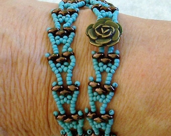 Turquoise Seed Beads, Antique Bronze Superduos, and and Antique Bronze Button Wrap Bead Woven Bracelet