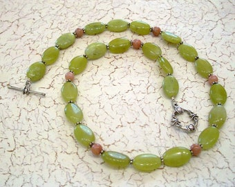 Lime Green Serpentine Gemstone Beads with Pink Opal Beads Necklace by Carol Wilson of Je t'adorn