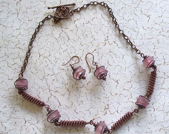 Copper Wire Beads and Faceted Pink African Glass Beads Necklace by Carol Wilson of Je t'adorn