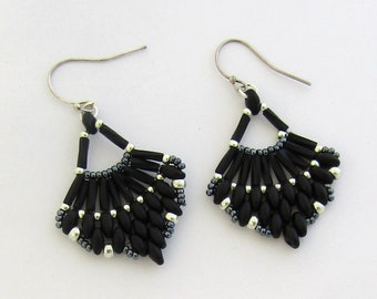 Black and Silver Beaded Earrings by Carol Wilson of Je t'adorn