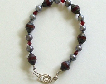 Deep Red and Silver Beaded Bracelet with Handmade Swan Clasp by Carol Wilson of Jetadorn