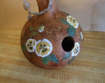 Hand Painted Gourd Bird House  Yellow Pansy