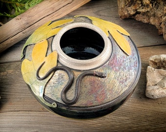 Raku fired pottery copper matte and white crackle glaze with Sassafras Leaves & ringneck snake sculpture one-of-a-kind Corvus Moon Pottery