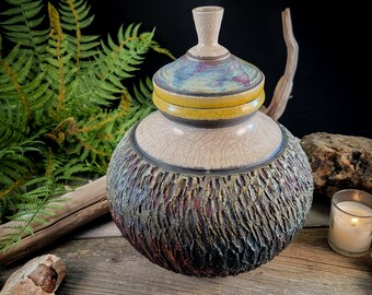 Raku fired pottery copper matte, white and yellow crackle glaze urn or jar - one of a kind piece by Corvus Moon Pottery