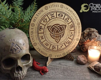 Celtic Calendar with wooden stand Solstice Wheel of the year Pagan Witchcraft Wiccan Witch Engraved Triquetra Viking Norse Alter