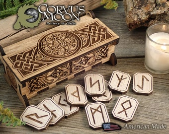 Rune set in wooden box, Elder Futhark, Fortune telling, Divination, Wiccan, Norse, Scandinavian, Viking, Witchcraft, Pagan , Luan plywood