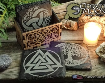 Viking Norse slate stone Coaster Set with Wooden Holder Box Tiles Scandinavian Coffee Drinking  Laser coasters north man