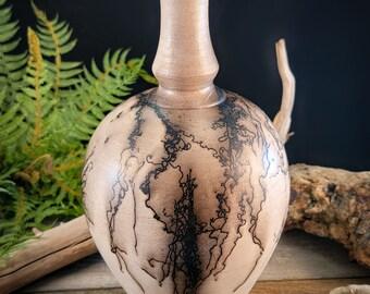 Raku smoke fired Horse Hair pottery bottle vase -  one of a kind piece by Corvus Moon Pottery