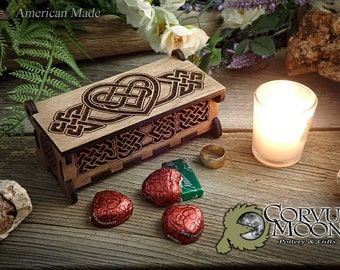 Wooden heart keepsake gift box Anniversary Wedding Valentine's day Celtic Knot jewelry rings chocolate  2 lines customizable text