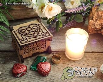 Valentine's day wooden keepsake gift box Anniversary Wedding Celtic Knot Heart jewelry rings chocolate valentine