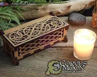 Wooden Viking Keepsake Box Wiccan, Norse, Scandinavian, Witchcraft, Pagan, Candy, Incense, Luan plywood (NO RUNES)