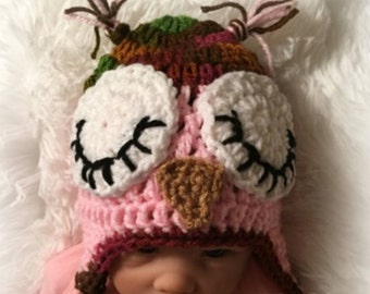 05b12fe261a Sleepy Owl Hat Sleepy OWL Baby Hat crochet owl hat baby owl hat owl hat Baby  Girl Hat Newborn Owl Hat hat with earflaps Ready to Ship
