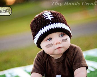 crochet football hat/football beanie/ready to ship/football baby girl/preemie football hat/football baby boy/newborn football hat