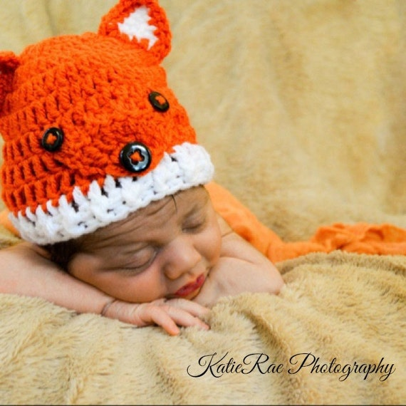 Baby Mütze Fuchs Hut Häkeln Häkeln Handarbeit Häkeln Hut Etsy