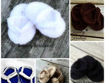 Crocheted baby flip flops/ crochet baby sandals/ baby shoes/ Little Flip Flops/NEWBORN Sweet Little Flip Flops
