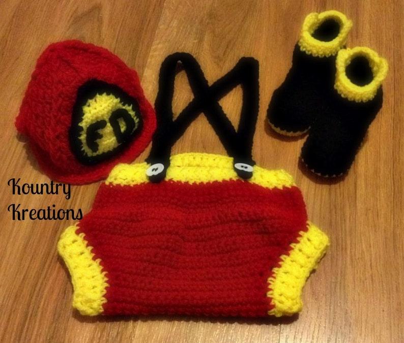 a667b16060d Crochet fireman outfit  baby fireman set fireman hat  Crochet