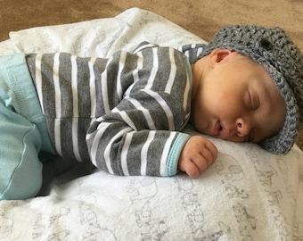 Crocheted Newboy Hat, Newborn Newsboy Hat, Baby Newsboy Hat, 3 Month Newsboy Hat, Baby Hat (Ready to Ship)
