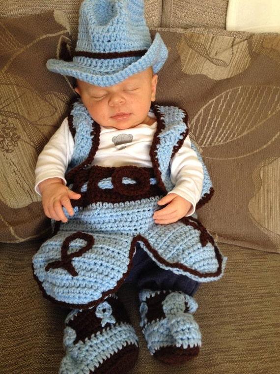 Crochet recién de nacido bebé traje de vaquero sombrero | Etsy