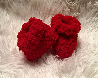 Crochet Baby Booties/Booties/Newborn Booties/ Baby Booties /Red Baby Booties/Infants/ /crochet booties/crib shoes (Ready to Ship)