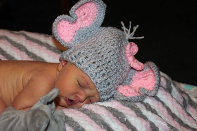 Crochet Elephant Hat/baby hat/crochet baby hat/baby girl image 1