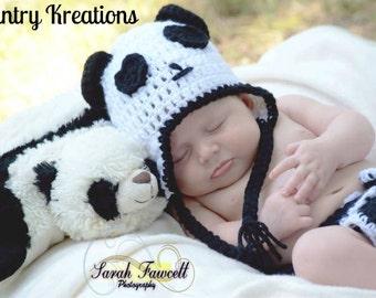 Crochet Panda Hat, Newborn Panda Hat, Baby Hat, Toddler Hat /Panda Bear Baby Hat (Ready to Ship)